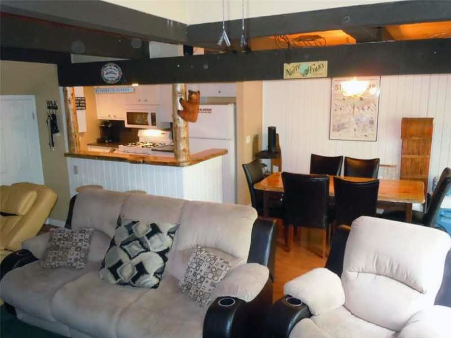Comfortable living area with gas stove
