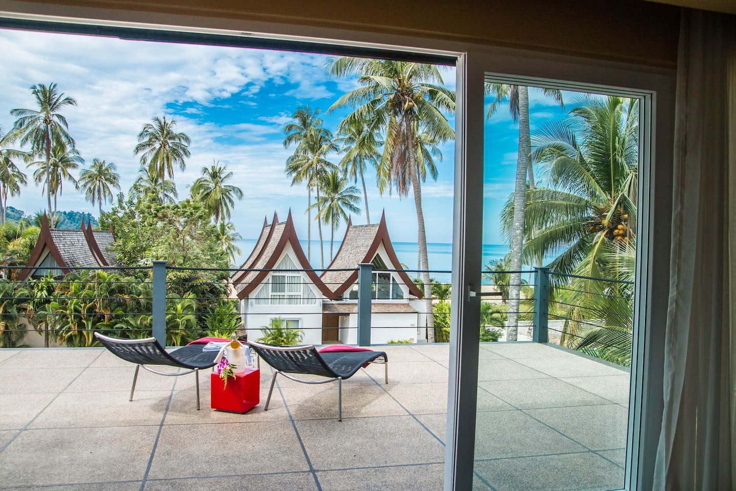 View over the sea from the top floor Terrace of Shambhala Boat House
