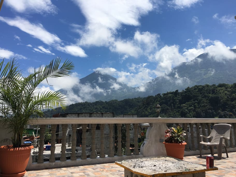 incredible views of Tolimán volcano from the rooftop terrace