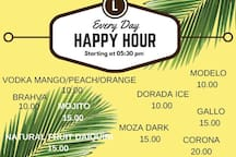 Amazing Happy Hour everyday starting with the Sunset until we close!