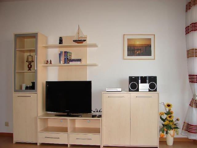 Flachbild TV, CD - Radio, DVD Player  und viele Bücher und Spiele auf und in den Schränken