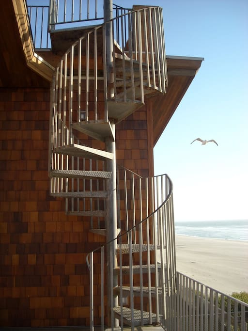 Spiral Staircase to Rooftop Deck