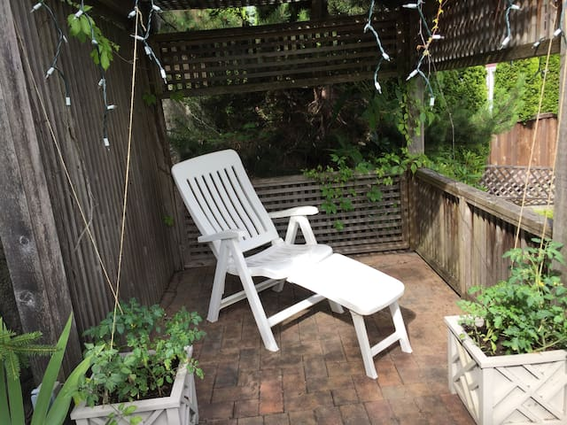 Relax in the gazebo in the backyard
