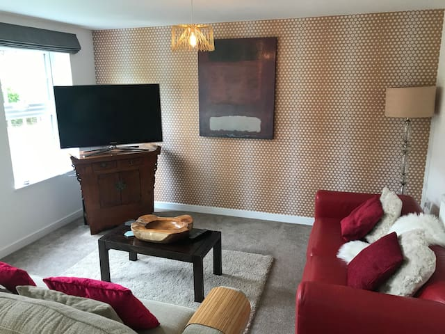 Beautiful living room with views over the canal.  We boast: - A 55inc TV with, Netflix, Amazon Prime, Disney and Freeview. Alexa -with Amazon  music and Spotify Music system Original art Lots of little goodies to make you feel cosy and special.