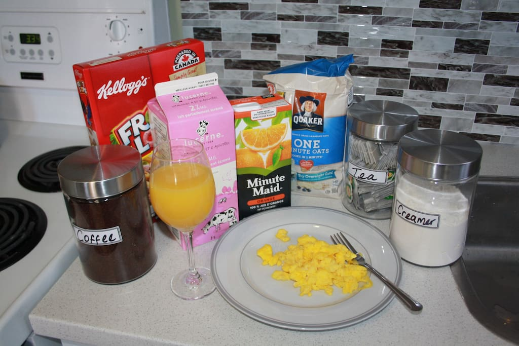 DIY breakfast includes: Eggs, Cereal, Milk, Oatmeal, Juice (orange), coffee, tea<br>