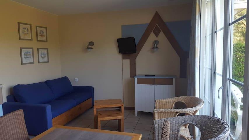Salon cosi avec canapé lit et télévision