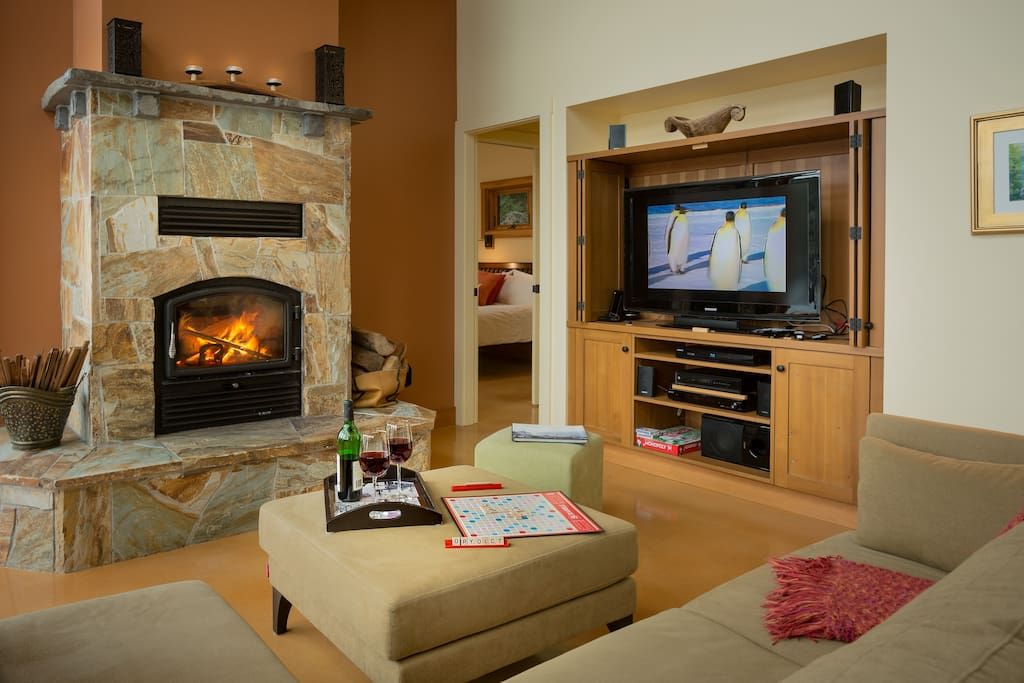 Cozy winter evenings with a wood burning fireplace, games and movies on Cable TV.
