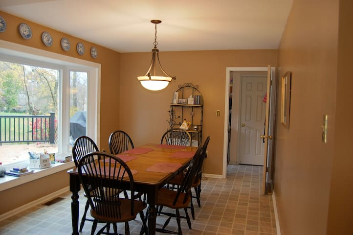 Eat-in Kitchen overlooking deck.