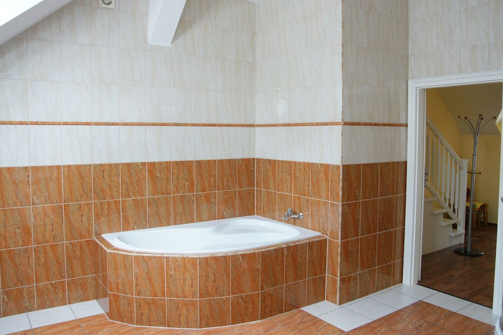 Large bathroom with toilet and separate shower and bath.