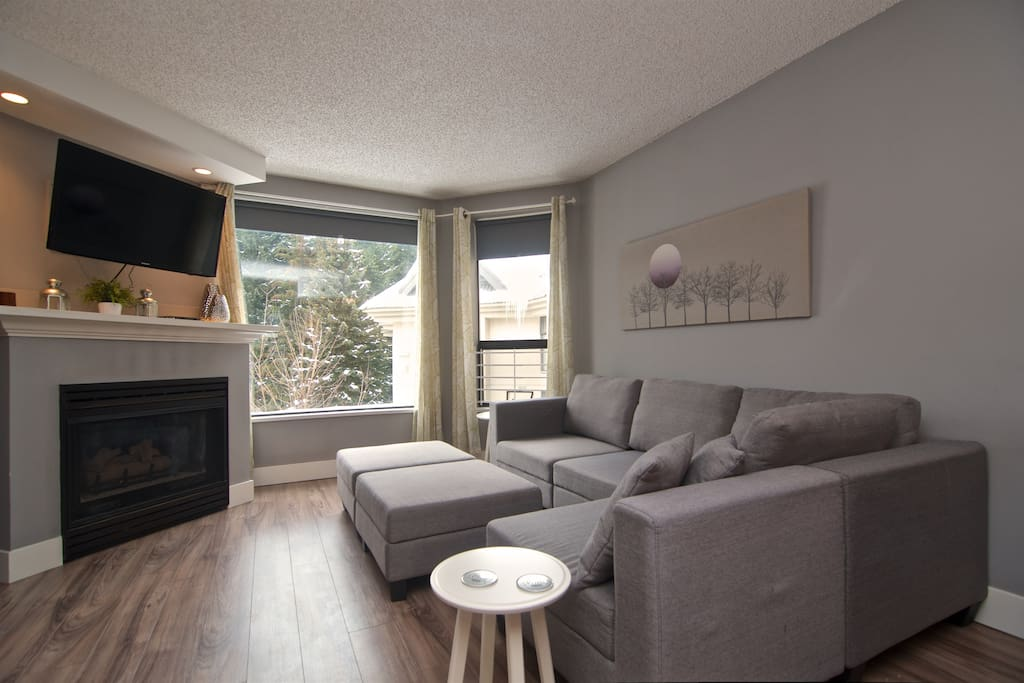 Comfortable living room with  TV and fireplace