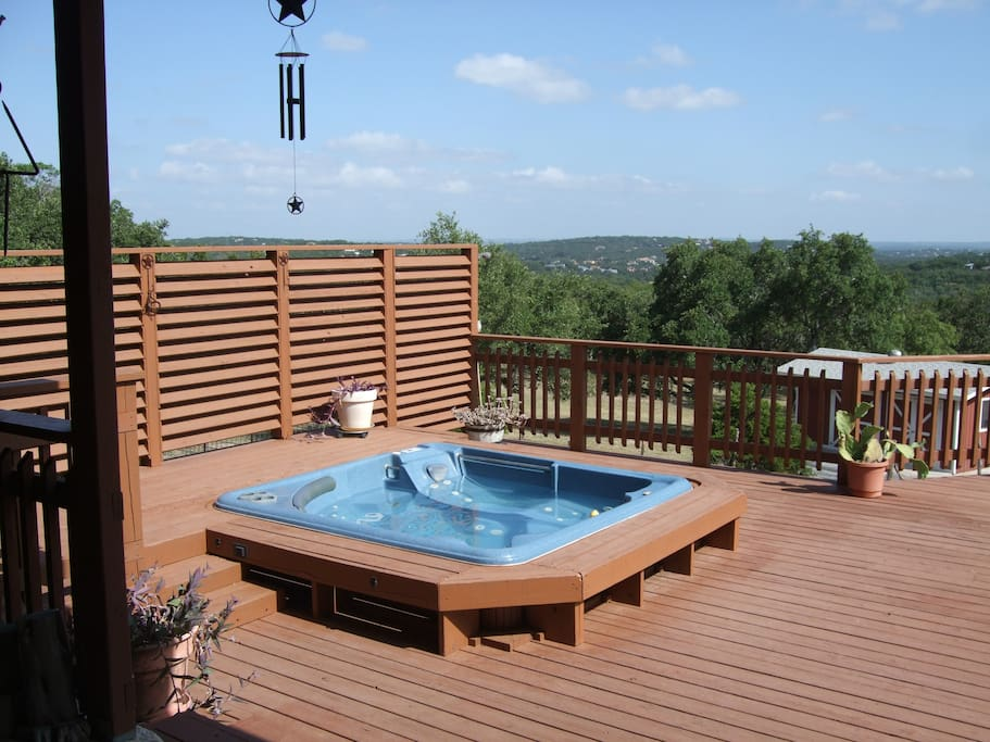 Large deck with hot tub