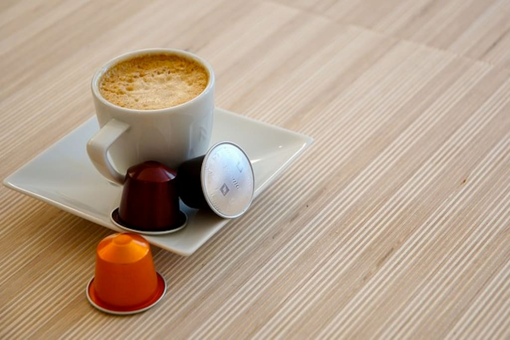 Enjoy Espresso anytime with your own Nespresso Machine.  Guests receive 10 capsules to use during their stay