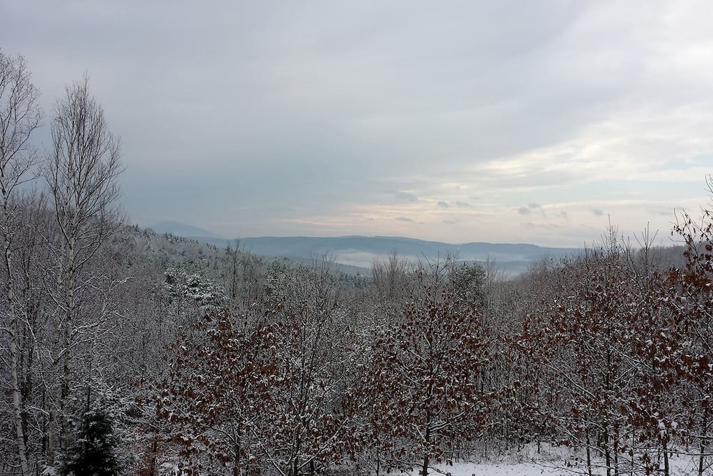 The view from the deck is absolutely stunning! When the weather is clear, you can see all the way to Mt. Ascutney.