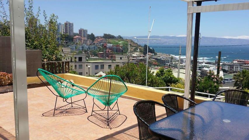 Gran terraza sobre el Mar. - Viña del Mar - Leilighet