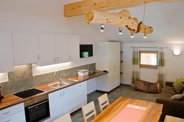 """Idyllic Holiday Apartment """"Ferienwohnung Enzian"""" on a Mountain Farm, with Balcony, Community Garden and Sauna, Wi-Fi & TV; Parking Available"""