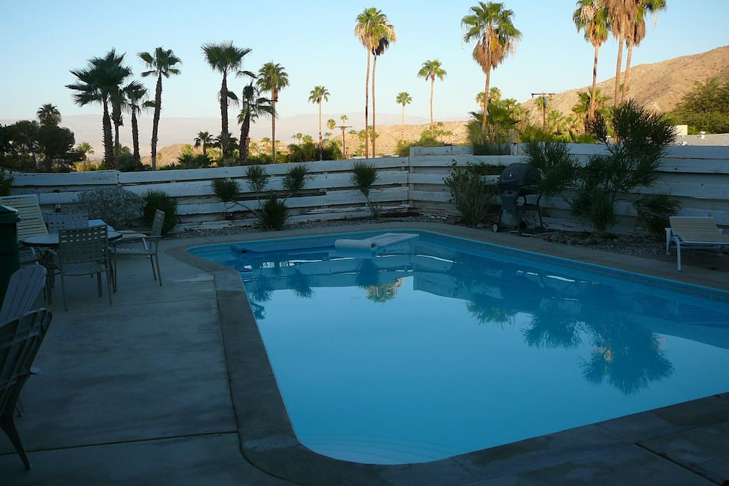 Pool with desert views beyond.