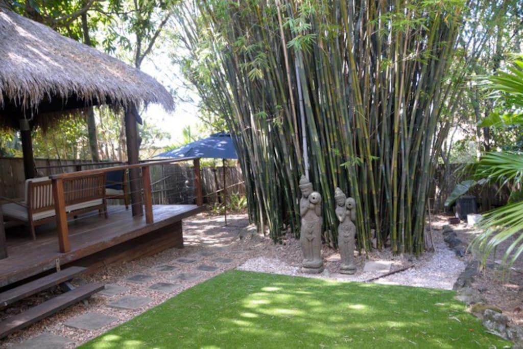 Back Garden with Balinese Hut