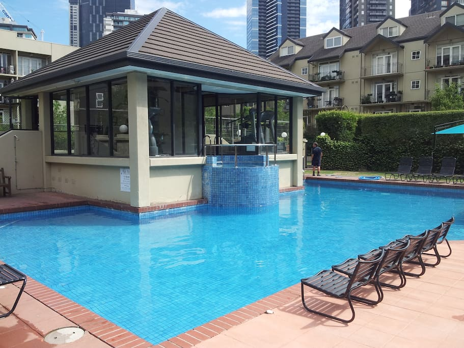 The sparkling pool is solar heated all year round