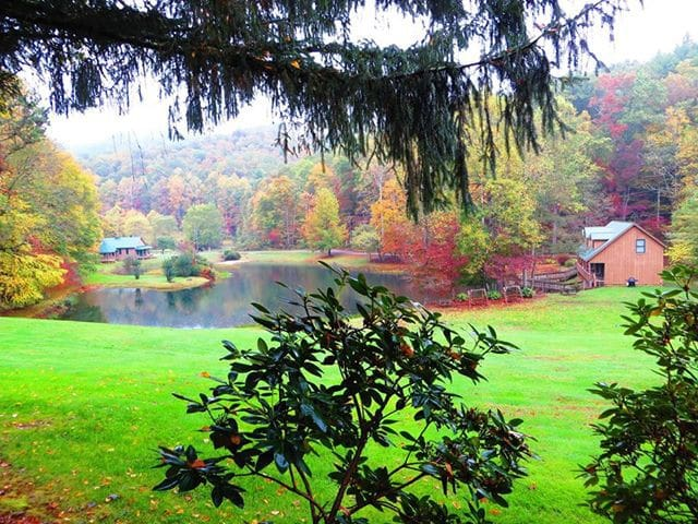 This is the view from the front porch of Bear Cave.  Valley Springs is filled with color in the fall.