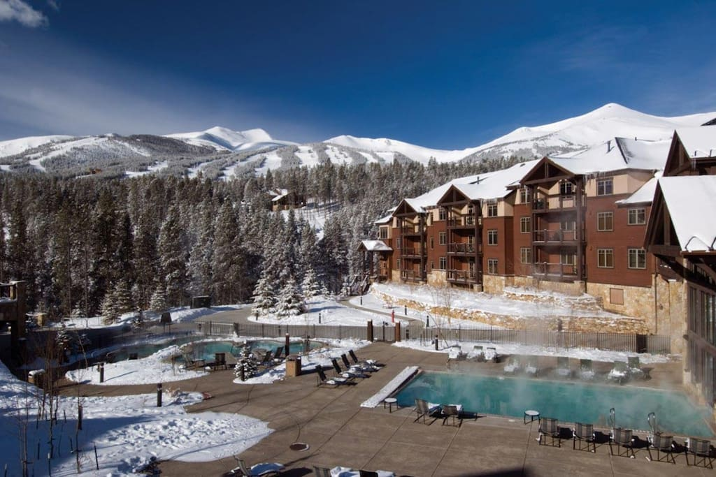 Enjoy the slopes from the outdoor pool and hot tubs