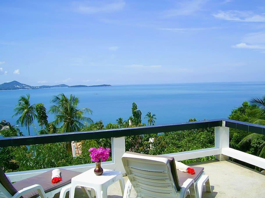 sundeck with panoramic sea views