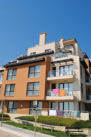 The parasol marks the apartment terrace