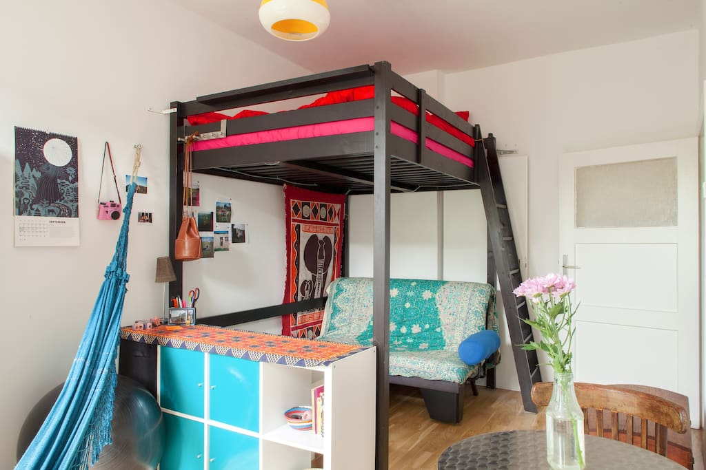 The loft bed is gone and there is a normal double bed in its place