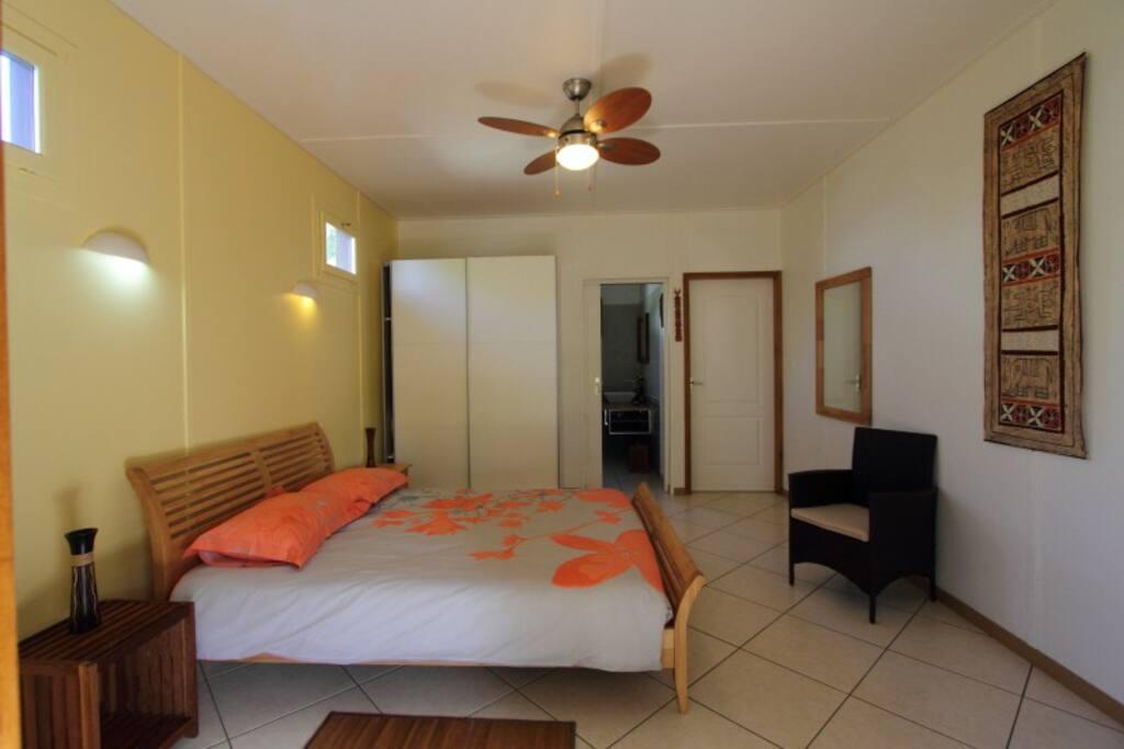 chambre spacieuse avec ventilateur plafonnier