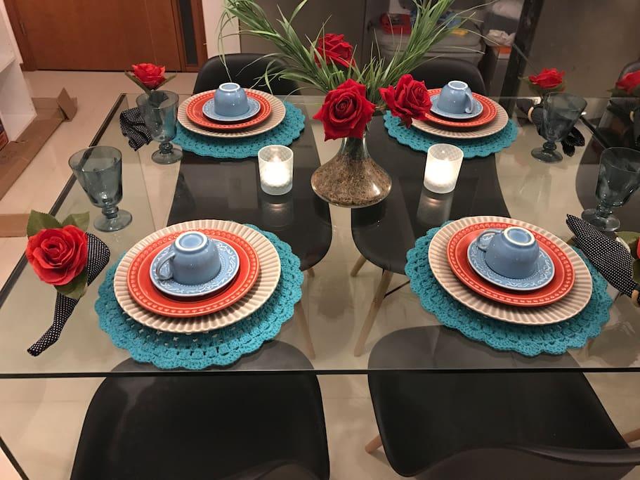 Mesa completa para jantar especial