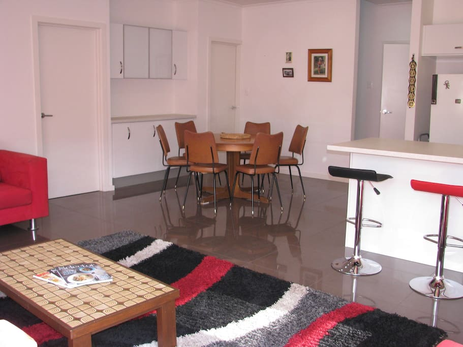 Kitchen, lounge, dining area.