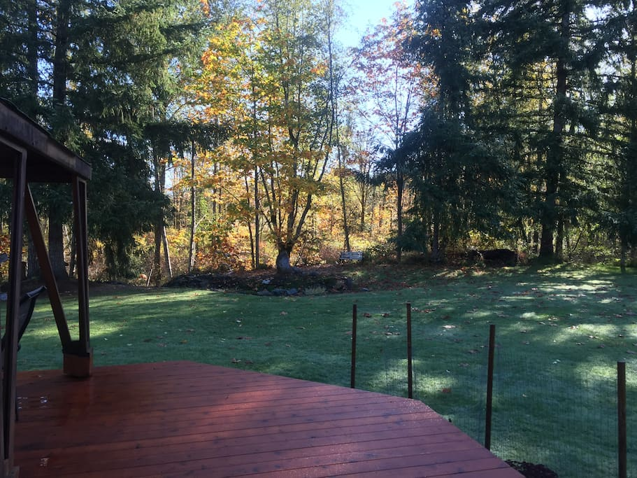 Looking toward the river-path from the deck