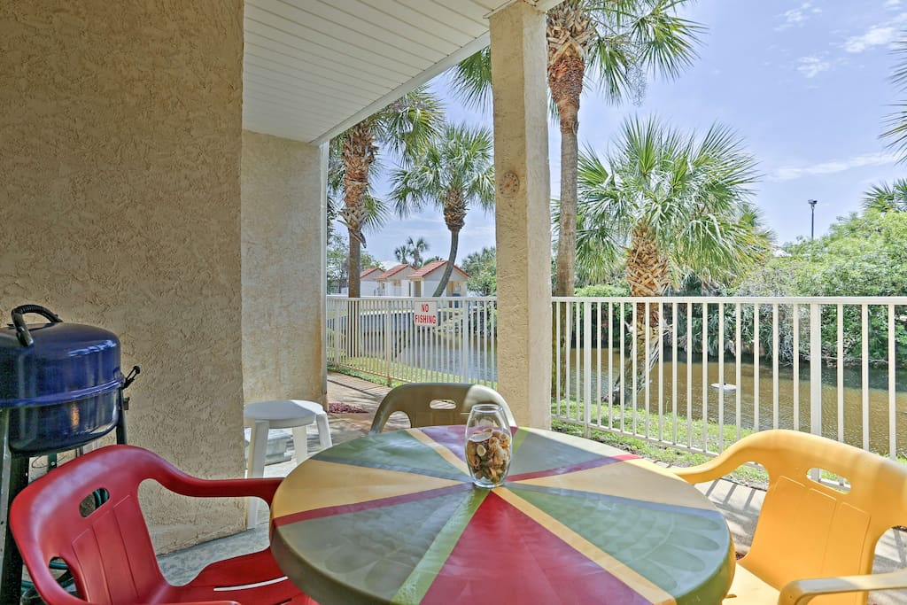 This 1-bedroom, 1.5-bathroom condo is located in an upscale resort.