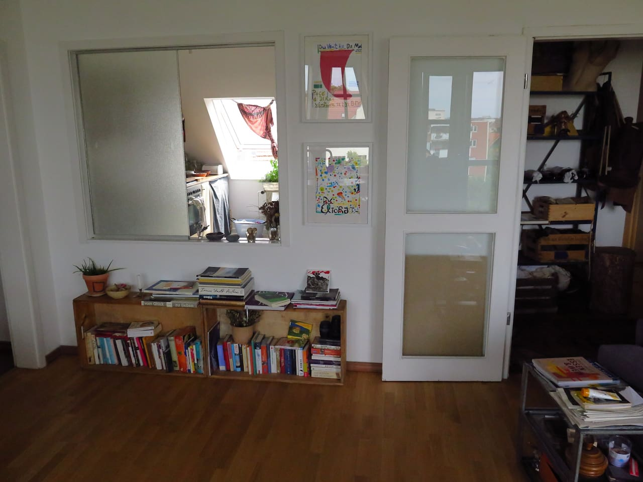 View from living room into kitchen