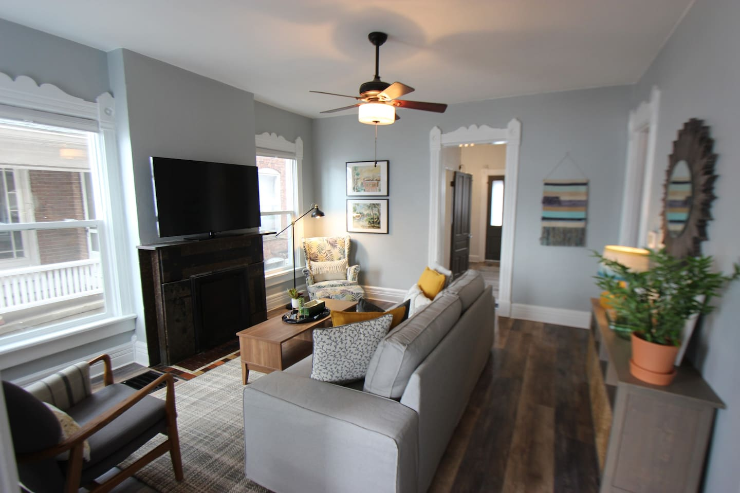 The family room right by the living room and full service kitchen.