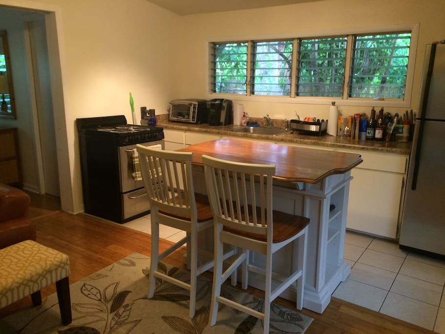 Fully equipped kitchen with island and seating.
