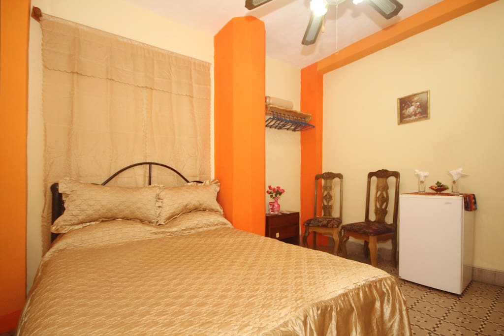 Private bedroom  with filter water, minibar ,AC  & private bathroom  with hot and cold water