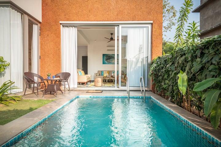 Brand new private pool villa -9min Vagator beach