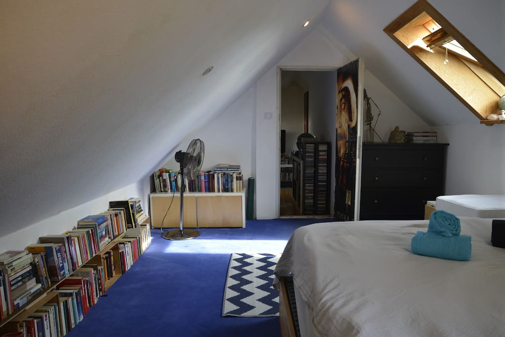 """Our lovely bedroom is upstairs and we also call it """"book-room"""" ;-)"""