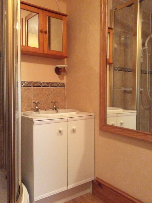 Sink cabinet and long mirror switches for shower and extractor fan under sink