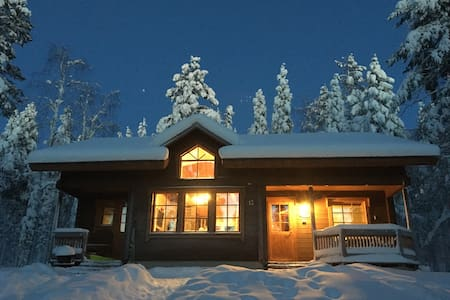 Peaceful cabin in winter wonderland