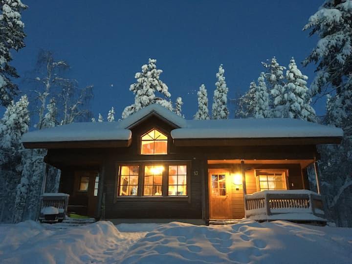 Peaceful cabin in winter wonderland