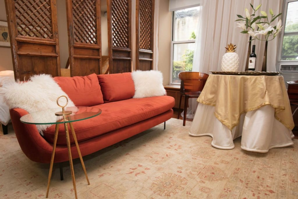 Lavish yet comfortable sitting area to relax before exploring  The Big Apple
