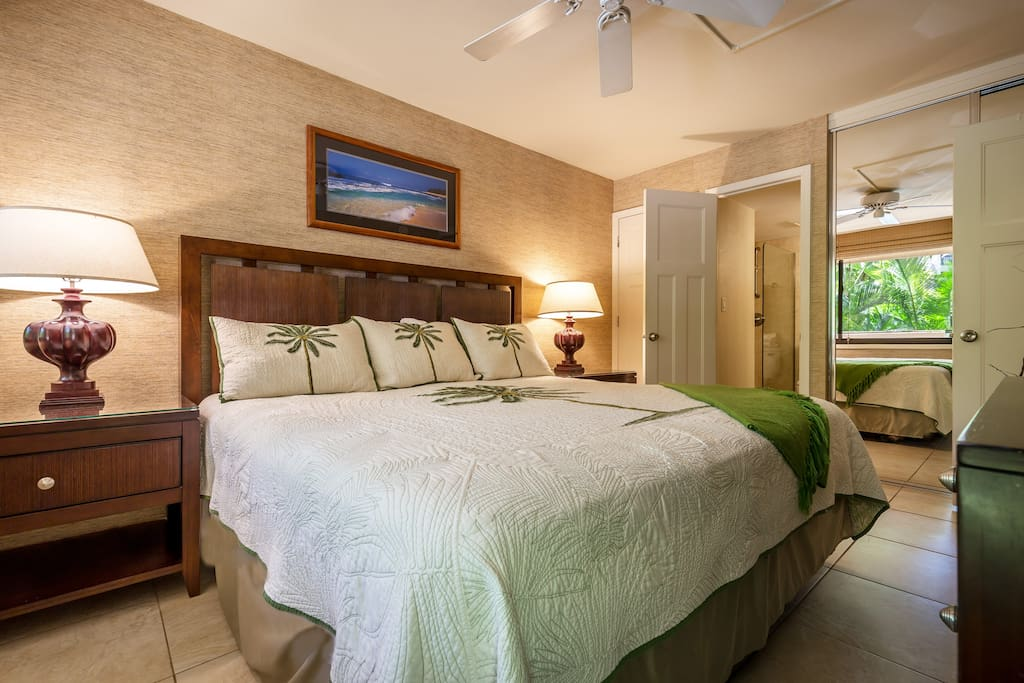 Master bedroom with a luxury king bed and A/C.