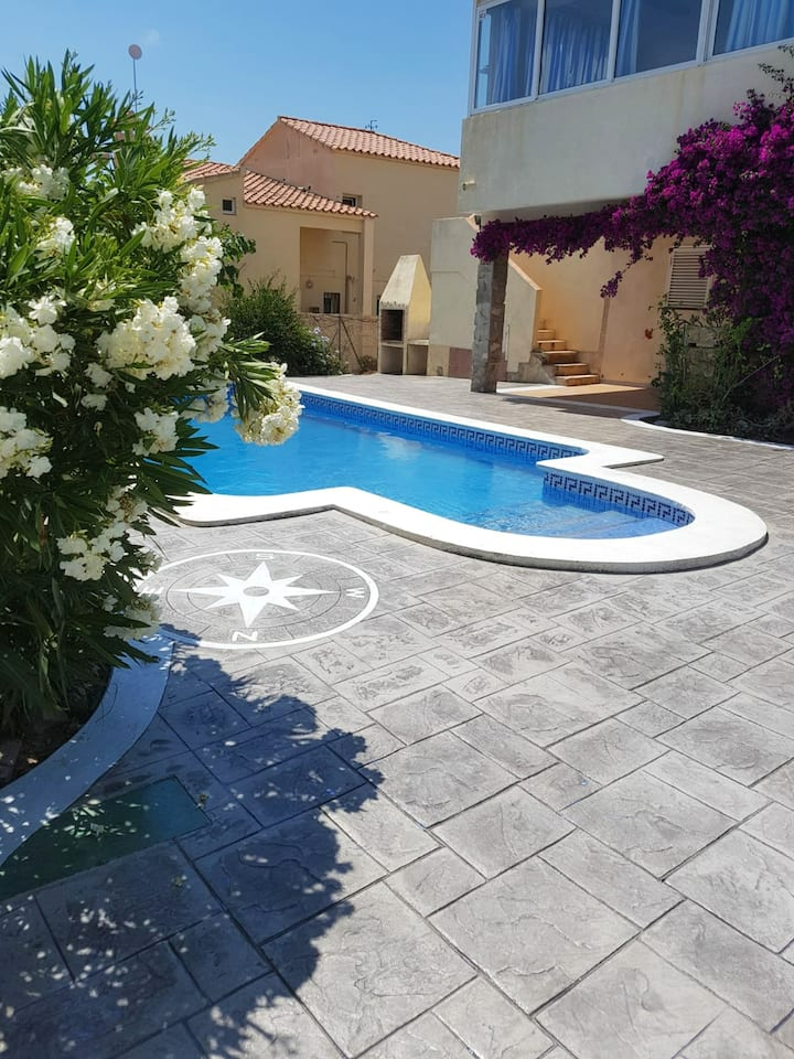 Villa with 5 bedrooms in Calafat, with wonderful sea view, private pool, furnished garden - 200 m from the beach