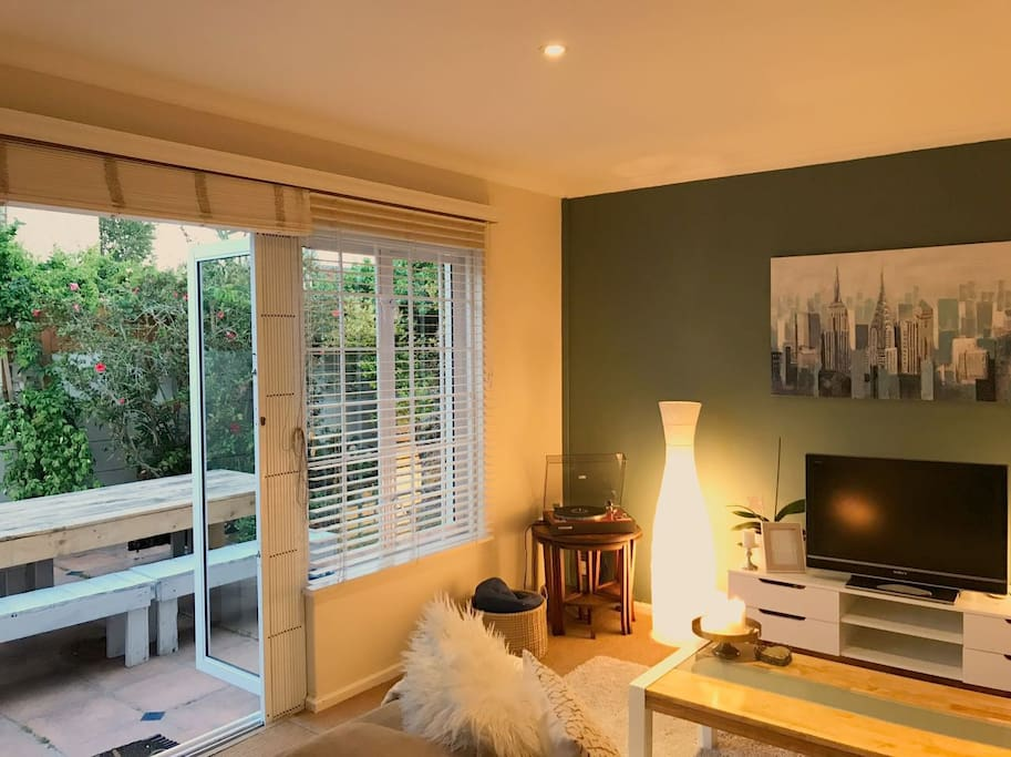 View to the garden from the lounge area - this is the sunniest room in the house