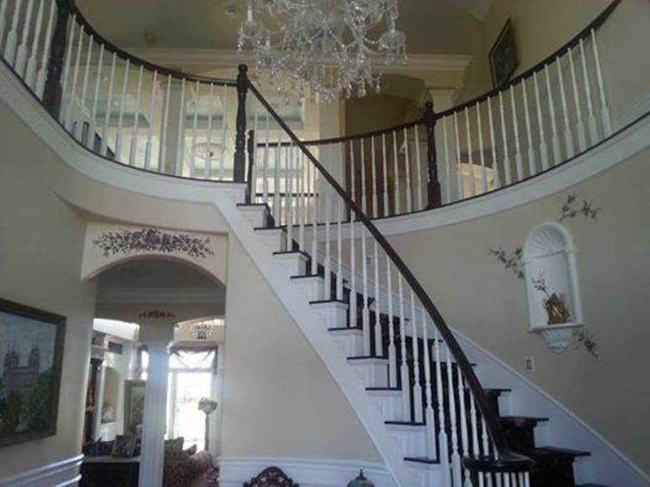 Winding staircase at the entrance of our home