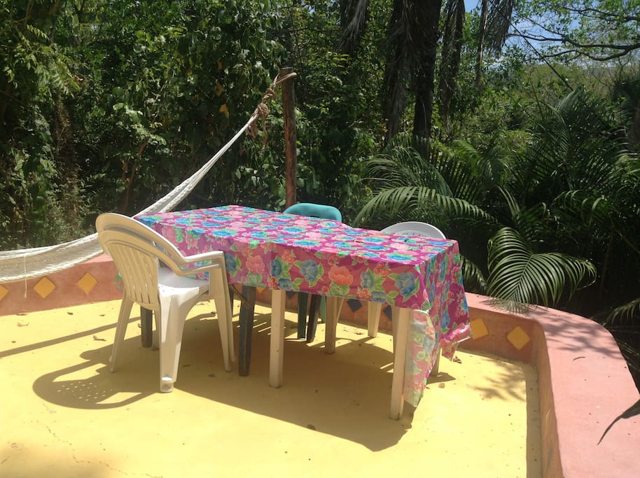 The outdoor dining area with hammock in lots of sunshine.