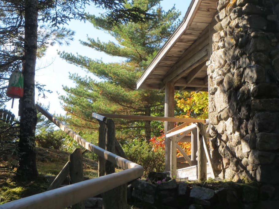 Fall colors are showing here. This is the walk-up to the oceanside porch of Crow's Nest Cottage.