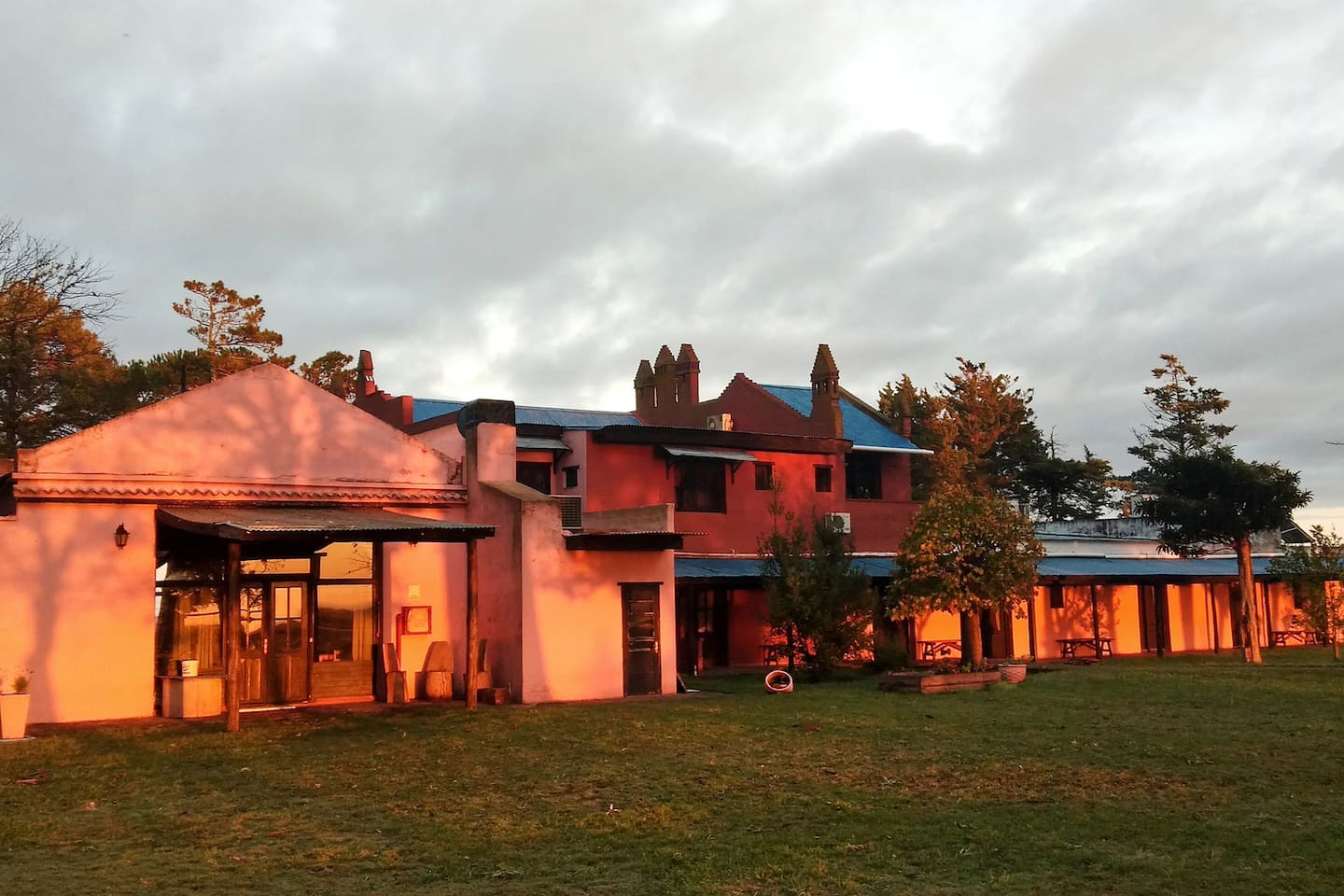 The main building at sunrise