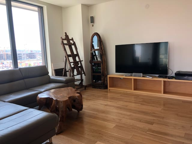 The living room featuring 65'' TV set, Harman/Kardon surround system, teak solid wood table and Natuzzi sofa.